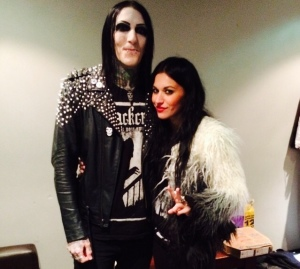 Chris Motionless with Lacuna Coil's singer Cristina Scabbia.