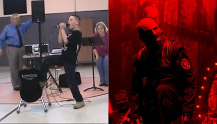 nine-year-old sings Slipknot at school show